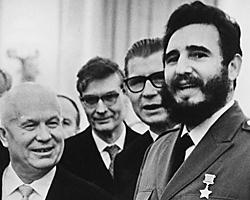 A long run: Fidel Castro (r.) met with Soviet Prime Minister Nikita Krushchev in Moscow in 1964.Though intially claiming his revolution was motivated by christian principles, the Revolutionary embraced Marxist ideology and adopted an adversarial posture with the Catholic Church.