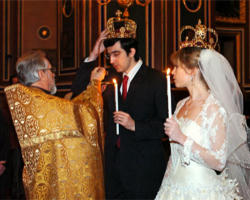 The 'crowning' ceremony is an ancient and beautiful part of the Eastern Christian (Orthodox and Catholic) Marriage Liturgy. It underscores the extraordinary significance of the Sacrament of Marriage as a participation by the spouses in the ongoing redemptive mission of Jesus Christ through His Church. the 'Domestic Church' of the family is the smallest cell of the Church, the Body of Christ.