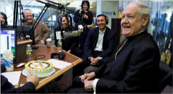 (Pictured: Cardinal Egan hosting his final program)