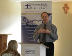 (Pictured. Dr. C.S. Morrissey teaching students at Redeemer Pacific College.)Catholic universities are thus better characterized as 'faith-and-reason'-based, since their institutional reason for existence is to provide a mediating, ecumenical role between human reason and particular faiths.