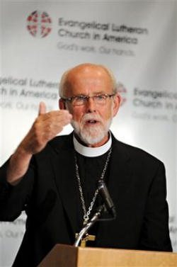 The presiding bishop of the Evangelical Lutheran Church in America is elected to a six-year term by the Churchwide Assembly.In August 2001, the Churchwide Assembly of the Evangelical Lutheran Church in America (ELCA) elected Mark S. Hanson to serve as presiding bishop.