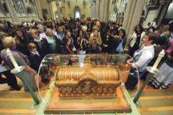 Relics of St. Therese on display for veneration by the faithful.