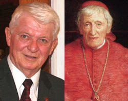 Deacon Jack Sullivan and the late John Henry cardinal Newman whose prayers obtained a miraculous healing.