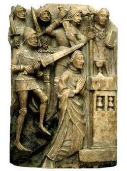 A late 15th century alabaster panel representing