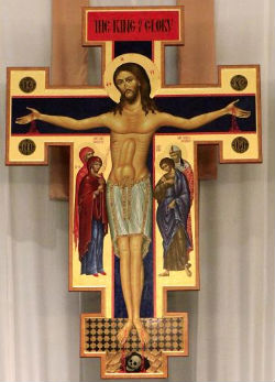 A crucifix above an altar at the St. Charles Borromeo Catholic Church in Warr Acres, Oklahoma is creating some controversy. Some visitors claim that the icon depicts the male genitalia of Christ, while others say it just shows his abdomen while his extended on the cross.