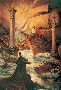 The now famous vision of Don Bosco's vision of the Church proceeding through troubled waters, led by the Vicar of Christ and guided by the twin pillars of Our Lady and the Holy Eucharist.