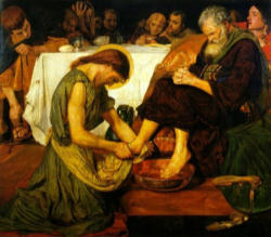 He rose from supper and took off his outer garments. He took a towel and tied it around his waist. Then he poured water into a basin and began to wash the disciples' feet and dry them with the towel around his waist.