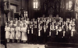 Pope Benedict XVI (first row, sixth from left) has said this of his first Communion day in 1936: 'At the heart of my joyful and beautiful memories is this one: I understood that Jesus had entered my heart, he had actually visited me.'