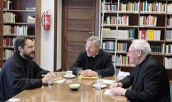 Metropolitan Hilarion met with Cardinal Walter Kasper the President of the Pontifical Council for Promoting Christian Unity at the Council's library in the Vatican. They discussed the work of the Joint Commission for Orthodox-Catholic dialogue. That work has involved fruitful mutual discussions on the role of the Bishop of Rome in the first millennium.