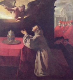 Saint Bonaventure at prayer.