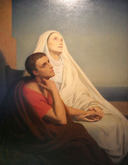 St. Monica with her son, St. Augustine, for whom she prayed over a period of seventeen years.