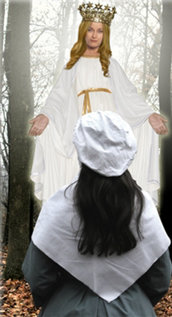 On October 9, 1859, a year after the Marian apparitions at Lourdes, France; Mary, the Queen of Heaven is alleged to have appeared three separate times in Northeastern Wisconsin to Adele Brise. (Recreated in the image above.)