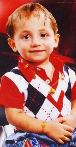 Three-year-old Adam murdered on October 31, 2010. Photo found at Christians For Iraq.