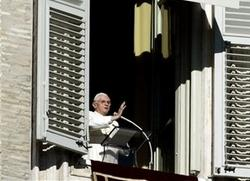 Pope Benedict XVI giving an Angelus message