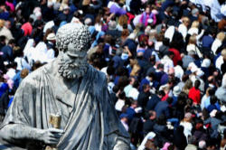 The crowds gathered in St Peter's square on Passion/Palm Sunday with Pope Benedict XVI to enter into the Great and Holy Week