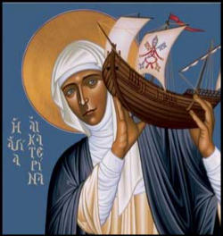 St. Catherine of Siena carrying the weight of the Church