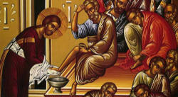 Icon of Jesus washing the disciples feet