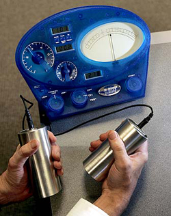 The E-Meter is one of the tools used by Scientologists in their 'counseling,' which they call 'auditing.' A primitive lie detector, the device, they claim, measures stress. Two cylinders that are connected to the unity are held in a person's two hands in order to measure electrical resistance of the skin.