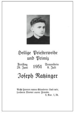 The actual Priestly Ordination announcement of Fr Joseph Ratzinger, now Pope Benedict XVI