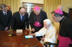 Pope Benedict XVI sending his first 'Tweet' to the world.