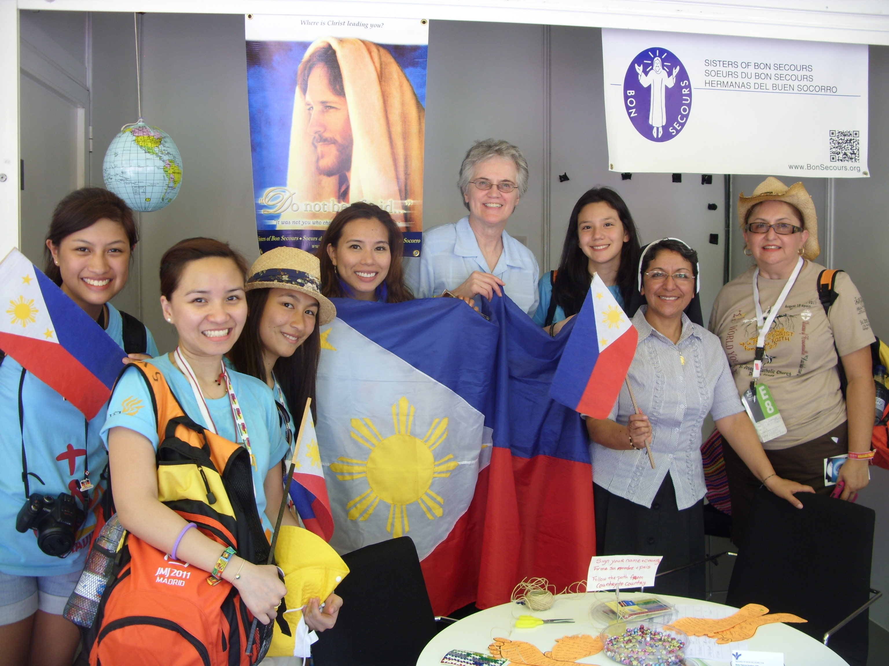 Sisters Pat Dowling and Elena Serrano met with young women from the Phillippines at the Vocation Fair in Madrid, Spain during World Youth Day 2011.