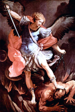 One of a multitude of images featuring St Michael the Archangel doing battle with Satan