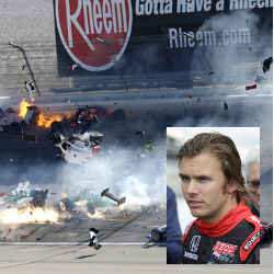 Thirty-three-year-old racecar driver Dan Wheldon died from 'unsurvivable injuries' in a  dramatic 15-car pileup crash which showed cars spinning out of control and bursting into flames, spewing smoke and debris.