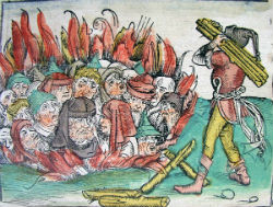 This artwork depicts the burning of Jewish people in the wake of the plague. Along with the horror of the plague, the horror of antisemitism - and hatred of other whole groups of people - multiplied as the disease spread. Frightened and superstitious people sought to blame whole groups of people for what they perceived as the wrath of God.
