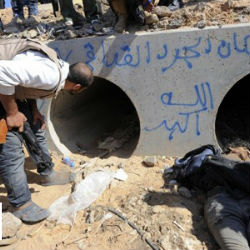 The drainage pipe where former Libyan dictator Moammar Khadafi reportedly begged for mercy to a rebel soldier to not kill him.