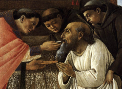St. Jerome receives the Eucharist: the sacrament of sacraments, and the source and summit of the Church.