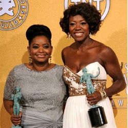 Viola Davis won the best actress trophy, while Octavia Spencer was given the best supporting actress honor. 'The Help' also won the best cast ensemble SAG award.