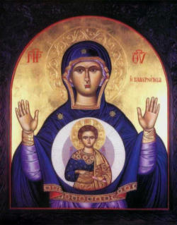 Eastern Christian icons, Catholic and Orthodox, usually depict the Child Jesus in the womb of Mary. They reveal a profound insight into the mystery of Mary and the mystery of the Church.