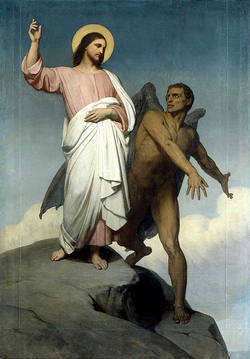 Jesus being tempted in the Desert