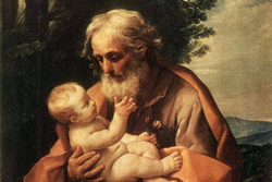 St. Joseph gazes into the eyes of eternity come to rest in a human babe. There he ponders the greatness of his vocation. There too is unveiled the sanctity and dignity of every human person.