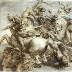 The 'Battle of Anghiari' was a wall mural painted by Leonardo Da Vinci in Florence's storied Palazzo Vecchio. It was long thought to have been hidden behind another fresco.