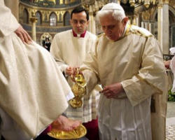 Pope Benedict XVI, the Vicar of Christ, washes the feet of Christ's disciples