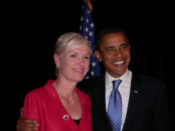 President Obama and the Leader of Planned Parenthood, Cecile Richards