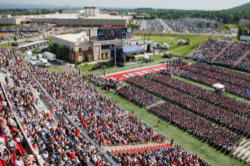 A crowd of over thirty thousand heard Governor Romney's commencement speech at Liberty University