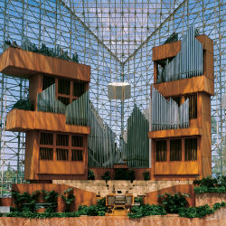 The Crystal Cathedral, with 10,000 windows and room for nearly 3,000 worshippers and 1,000 musicians was built in 1980; ten years after Schuller began broadcasting his sermons on the 'power of possibility thinking' into the homes of millions each Sunday.