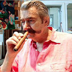 American artist LeRoy Neiman was unmistakable for his trademark handlebar moustache, ever-ready cigar and loud shirts.