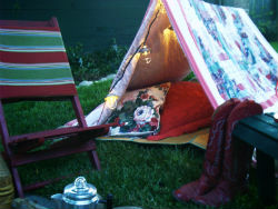 A backyard tent can be improvised and setting it up is part of the fun!