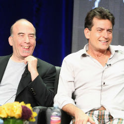 Actor Charlie Sheen as seen with executive producer Bruce Helford, Sheen made a series of bizarre appearances following his departure from the TV show 'Two and a Half Men,' but insists that he's not crazy anymore.