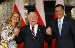 Lech Walesa with Mitt and Ann Romney
