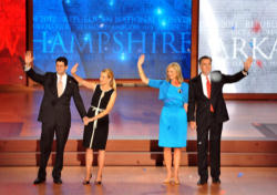 The Ryans and the Romneys wave to the Tampa convention participants