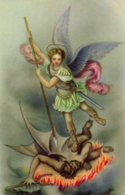St. Michael is normally depicted in battle defeating the devil.