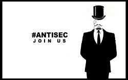 An AntiSec logo. The group is known for targeting government agencies.