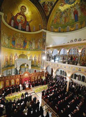 Pope Benedict XVI attends the St. Paul basilic in Beirut