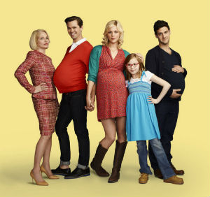 Demonstrating the perversion of the show, the lead male characters appear pregnant in advertising images.