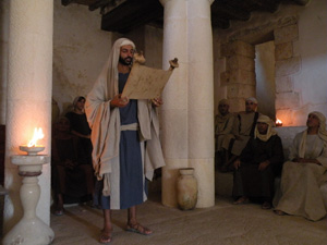 Jesus teaching in the temple.