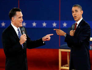 Governor Mitt Romney and president Barack Obama in second debate